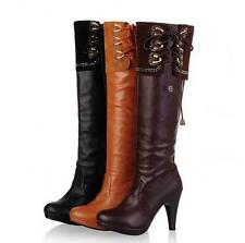 New Womens Cuffed Stillettos High Heel Shoes Pull On Knee High Boots Plus Size@#