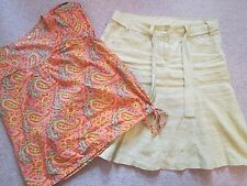 MARKS & SPENCER PALE GREEN LINEN SKIRT AND MATCHING BLOUSE SIZE 14