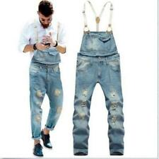 Hot  Mens Causal Denim Slim Jumpsuits Suspender Trousers Overalls Jeans Pants Sz