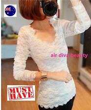 Women Lady All Lace Sexy Long Sleeve Party Casual Tee Tops t Shirt Blouse