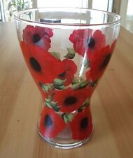 Hand Painted Red Poppy Head Glass Vase
