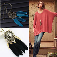 Vintage Dream Catcher Pendant Feather Tassel Charms Long Sweater Chain Necklace
