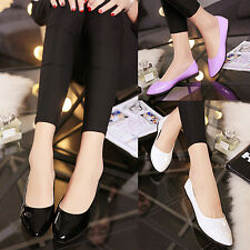 Women Casual Candy Color Flat Shoes Faux Patent Leather Pointed Shoes Striking