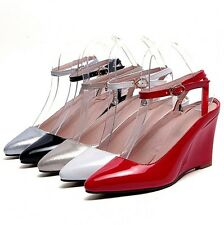 New Pointed Wedge High Heel Ankle Strap Buckle Sandals Lady Shoes AU Size s488