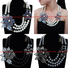 Fashion Resin Pearl Chain Crystal Chunky Choker Statement Pendant Bib Necklace