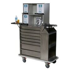 Harloff 6025-TC Stainless Steel 8 Drawer Cast Cart W/Top Compartment, Multiple L