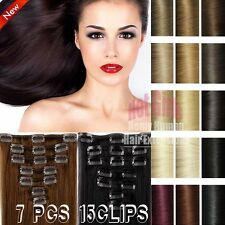 Real Classy AAA+ Clip In Remy Human Hair Extensions Full Head Cosplay US✿ MX853