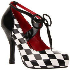 "FUNTASMA HARLEQUIN-03 4"" Heel Harlequin in Diamond Printed Ankle Strap Pump"