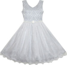 Girls Dress Pearl Sparkling Sash Shiny Glitter Party Grey Pageant Size 3-14