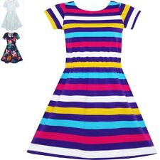 Girls Dress Colorful Striped Knitted Cotton Stretch O-Neck Size 4-10