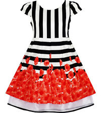 Girls Dress Black White Striped Red Flower Organza Hem Party Size 7-14