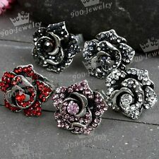 1pc Shiny Crystal Tibetan Silver Plated Flower Bead Finger Ring Women Jewelry