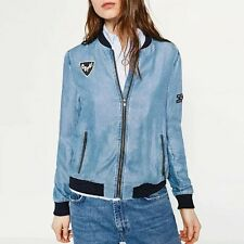 New Womens Embroidered Patch Blue Zip Up Denim Jeans Bomber Jacket Coat