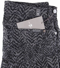 7 FOR ALL MANKIND The Skinny Jacquard Jeans in Black Grey Chevron $198