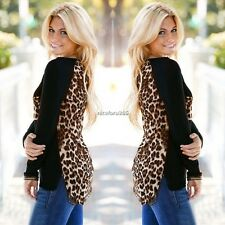 Sexy Ladies/Women Leopard Print Long Sleeve Chiffon Cotton T-Shirt Blouse Tops