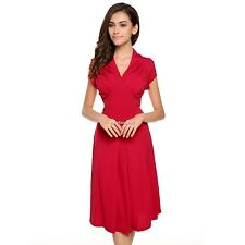 ACEVOG Ladies Women Cap Sleeve V-neck Casual Party Dress Sexy Medi Dress N4U8