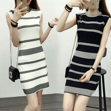 Fashion Korean Womens Casual Party Knit Striped Sleeveless Bodycon Pencil Dress
