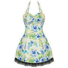 Hearts and Roses London Yellow Floral Tropical Hawaii Rockabilly Pinup Mini Dres