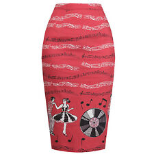 Red Rock n Roll Pinup 1950s Rockabilly Vintage Retro Fitted Wiggle Pencil Skirt