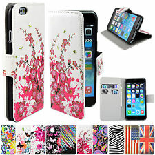 Flip Leather Skin Stand Card Wallet Cover Case For Apple Sony Samsung HTC phones