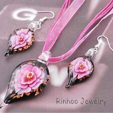 Chic Inside Foliiform Flower Lampwork Murano Glass Pendant Necklace Earrings Set