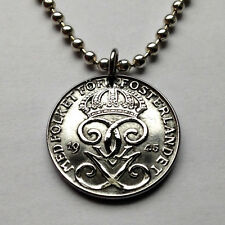 Sweden 2 ore coin pendant necklace Swedish scandinavian jewelry letter G n000126