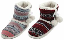 Slumberzzz Ladies Farisle Knitted Bootie Slipper with Pom Poms
