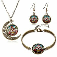 Hot Sell Retro Womens Earrings Necklace Dangle Bracelet Bronze Gem Sets Charming