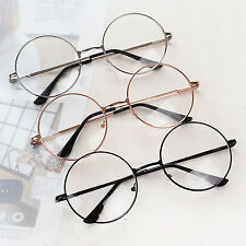 Retro Big Round Metal Frame Clear Lens Designer Nerd Spectacles Eyeglasses