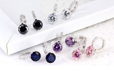Unique 18k White Gold Filled Swarovski Crystal Charming Hoop Earring Fit Gift V
