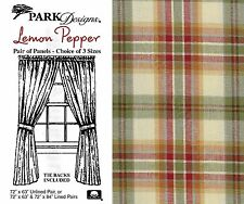 Lemon Pepper Panels by Park Designs, Country Plaid, Choose 72x63 or 72x84 Pair