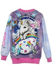 Kitten Fairies Unicorn All Over Printed Long Sleeve Sweater T - XS, S, M, L, XL.