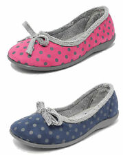 Womens Ladies Memory Foam Fur Velour Polka Dot Slippers Sleepers PINK BLUE 3-8