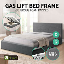 BELMORE Gas Lift Bed Frame QUEEN DOUBLE Linen Fabric PU Leather Storage