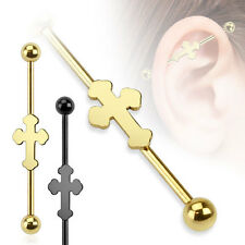 14g 1-1/2 Steel Industrial Barbell CELTIC CROSS Piercing Body Jewelry