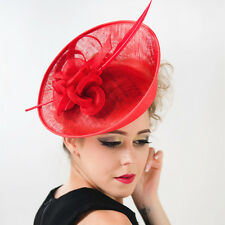 Red Black Large Feather Fascinator Clip Hat Headband Church Kentucky Derby mh