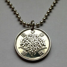 Japan 100 yen silver coin pendant Japanese RICE PLANT necklace flowers n000136