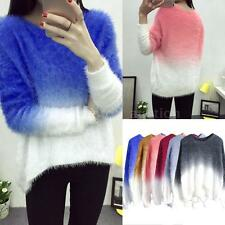 Women Sweater Knitted Batwing Sleeve Loose Pullover Coat Jumper Knitwear P9O4