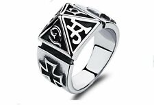 Vintage Stainless Steel Tridimensional Pyramid Ring Goth Punk Rock Band 7-11