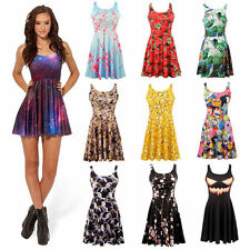 Womens Sexy Cartoon 3D Print Pleated Skater Mini Dress Tank Top Clubwear Dresses