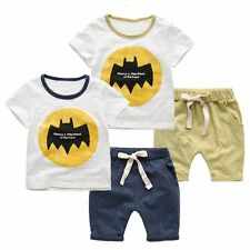 2pcs Newborn Toddler Kids Baby Boys T-shirt tops +shorts Clothes Set Batman