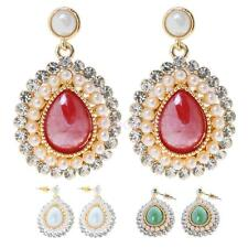 2016 Boho Crystal Rhinestone Pearl Statement Women Ear Stud Teardrop Earrings