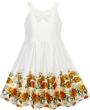 Girls Dress Yellow Rose Print Pleated Hem Wedding Pageant Wedding Age 7-14 Years