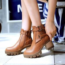 Womens Ankle Boots Casual Buckle Strap Booties Warmer Round Toe Block Heel Shoes