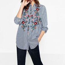 New Womens Ladies Striped Print Floral Embroidered Long Sleeve Shirt Blouse Tops