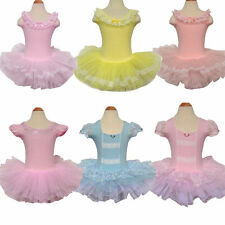 Girls Party Leotard Ballet Tutu Costume Dance Skirt Dress 3-8Y Pink Short Sleeve