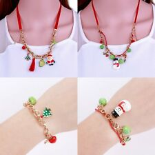 New Christmas Santa Claus Tree Candy Deer Bell Charm Chain Bracelet Necklace Set