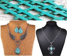 Angel Wings with Earring Set or Turquoise Cross Necklace or Chain Link Necklace