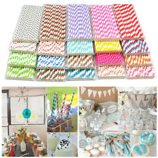 25Pcs Biodegradable Paper Drinking Straws Striped Birthday Party Wedding