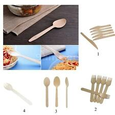 100pcs Birch Wooden Disposable Cutlery Kit Sets Wood Throwaway Tableware